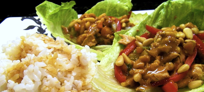 Ginger Chicken Lettuce Wraps with Srirachi Peanut Sauce