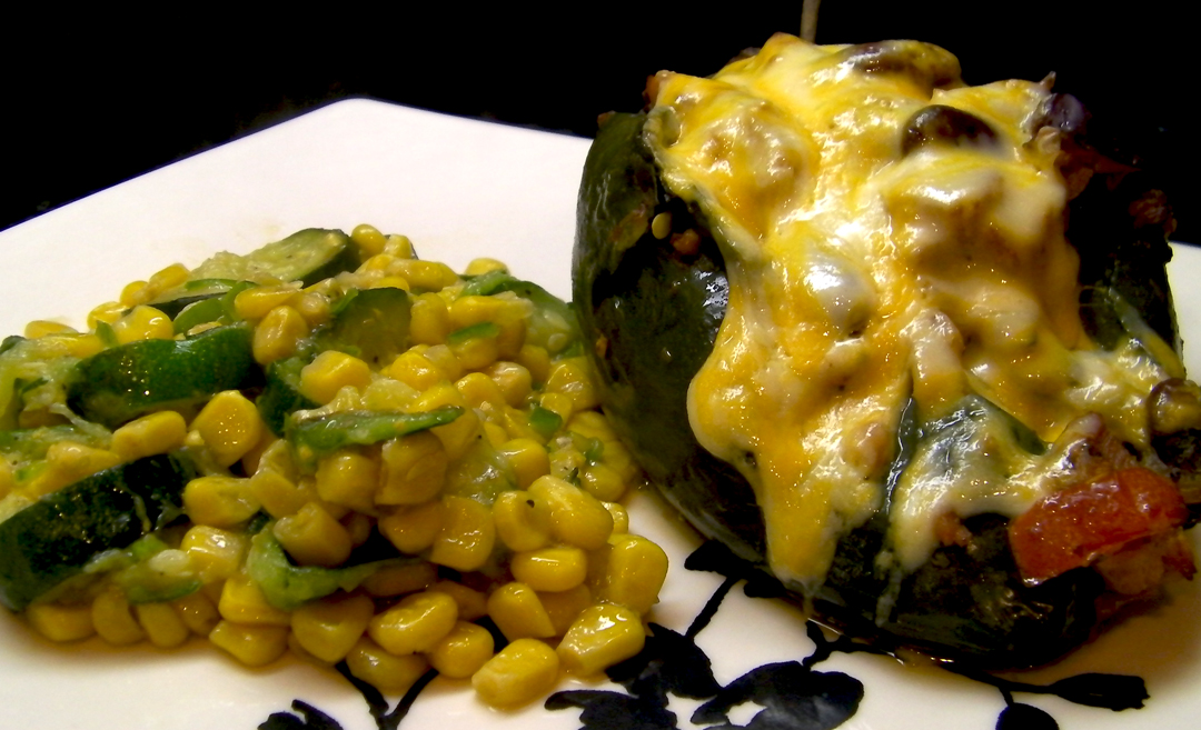 Chicken Stuffed Poblano with Calabacitas
