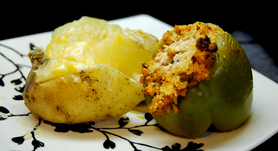 Sausage Stuffed Peppers and Baked Potato