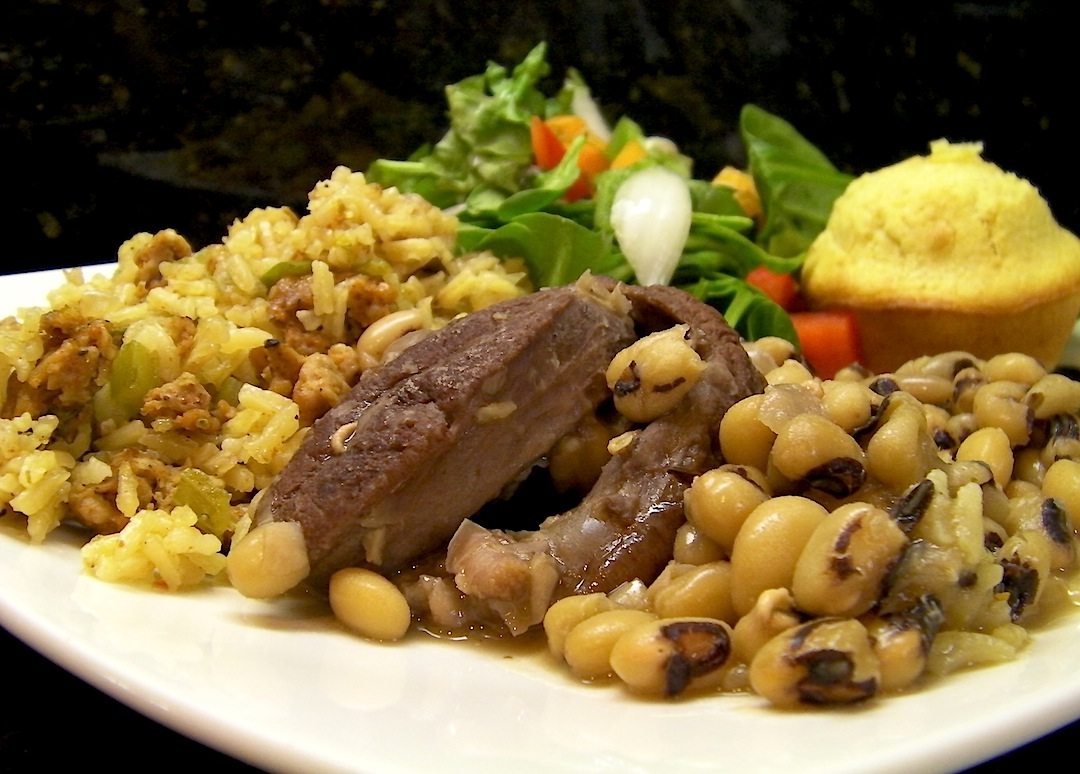 Blackeyed Peas with Shank and Bayou Style Dirty Rice