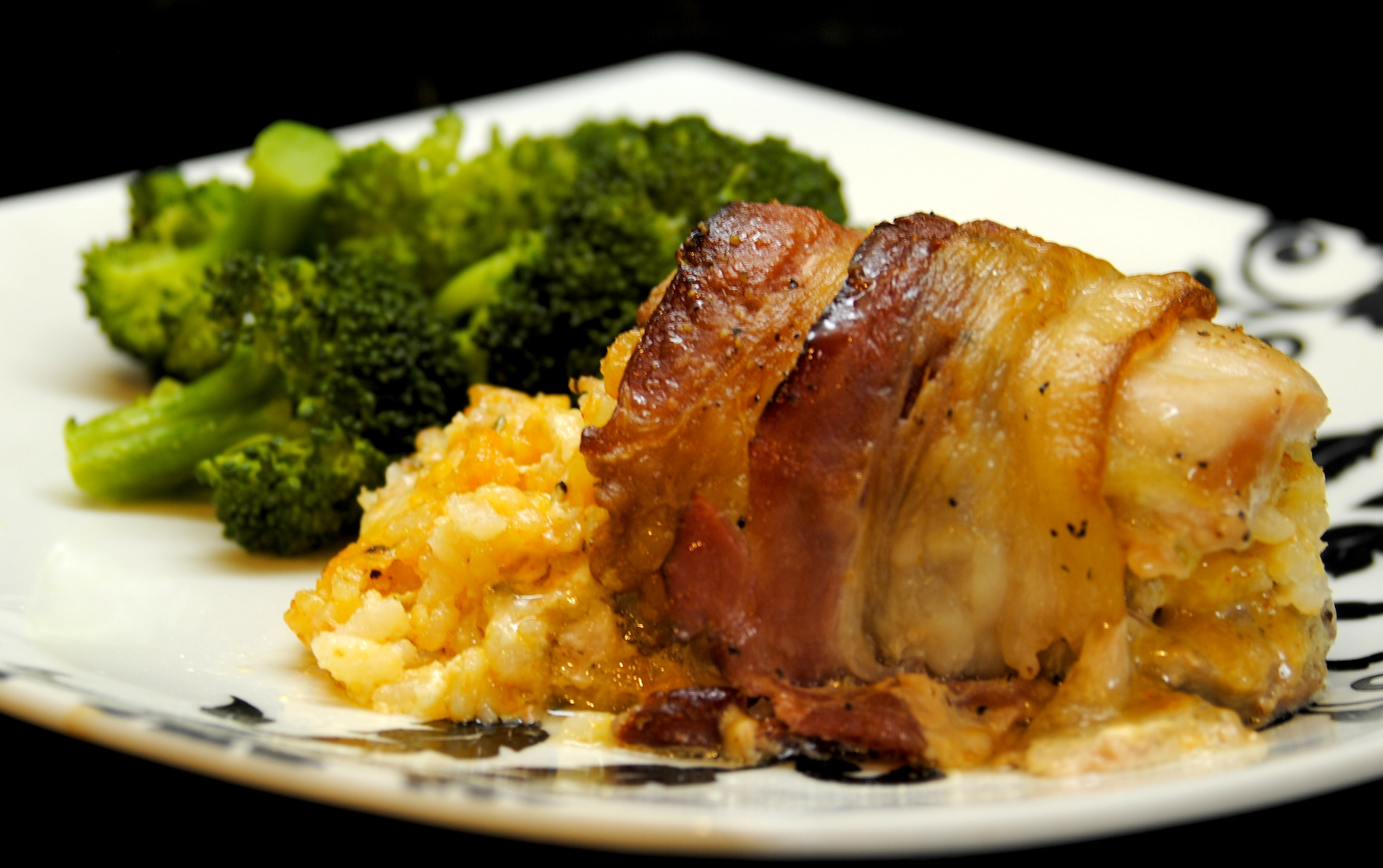 Stuffed Chicken Thigh, Wrapped in Bacon