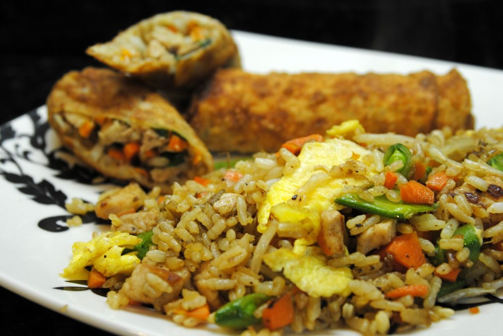 Pork Fried Rice and Egg Rolls